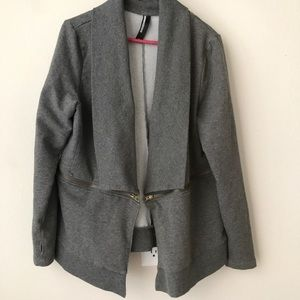 Dark Grey Zipper Dressy Cloth Cardigan Blazer